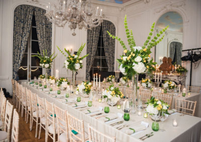 Fay Campbell Events Private Event 60th birthday weekend dining room set out with green theme
